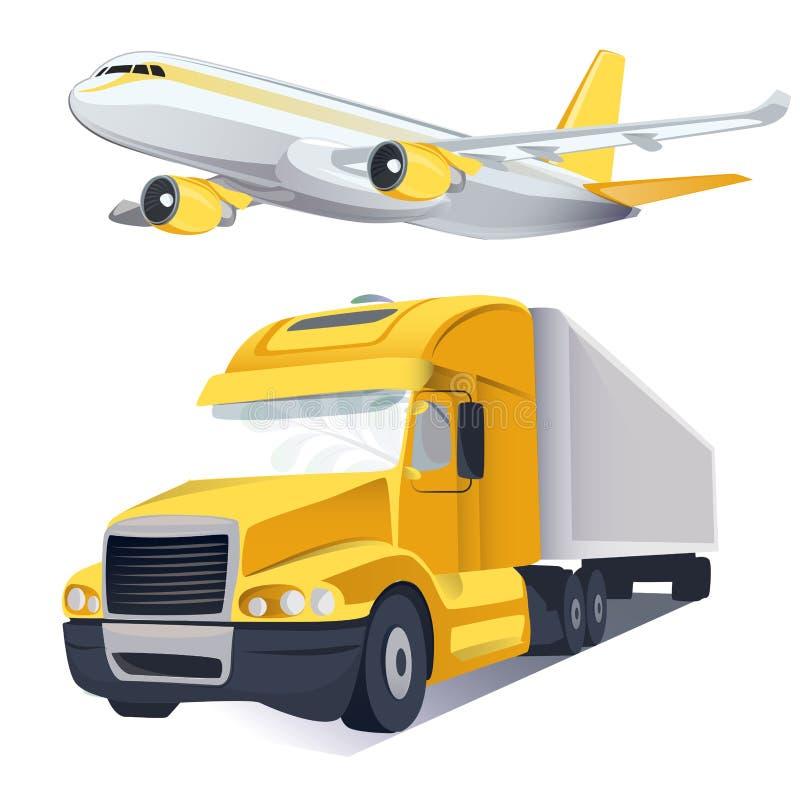 Logistique et transport de transport de vecteur Services de distribution globaux de messager Art grav? d'encre illustration stock