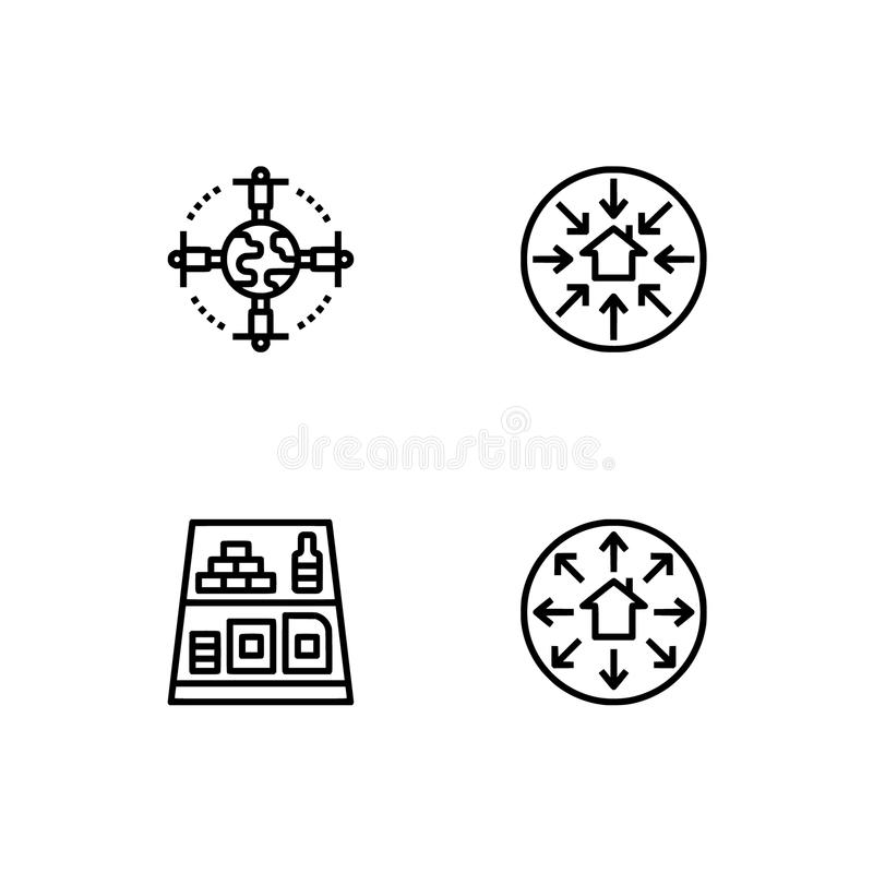 Logistique, la livraison, faisant des emplettes Placez le format de vecteur de l'icône ENV 10 d'ensemble Icônes noires de pixel p illustration libre de droits