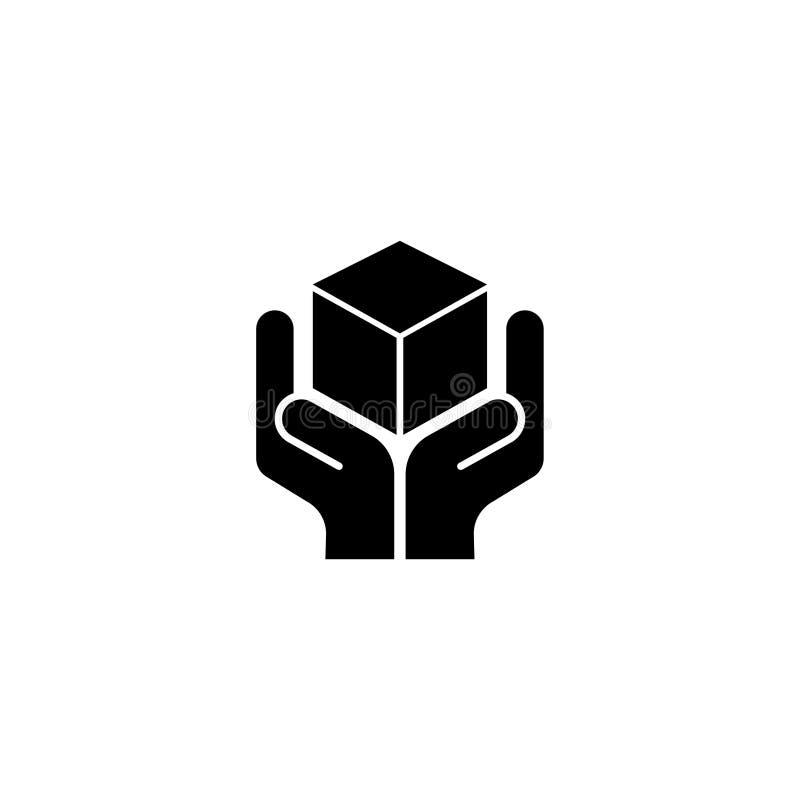 Logistique, main tenant l'icône plate de vecteur de colis illustration libre de droits