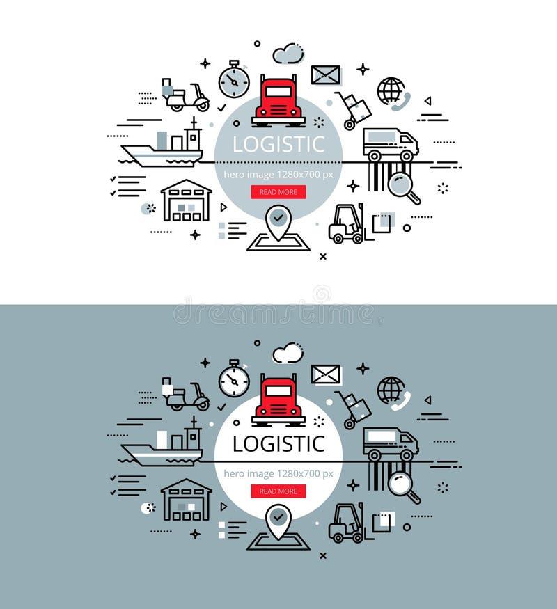 logistisch De vlakke de heldenbeelden van de lijnkleur en de heldenbanners ontwerpen mede stock illustratie