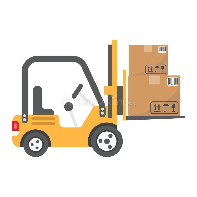 Logistisch de vrachtwagen vlak pictogram van de vorkheftrucklevering, vector illustratie