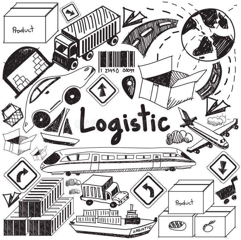 Logistisch, vervoer, en het handschrift D van het inventarisbeheer royalty-vrije illustratie