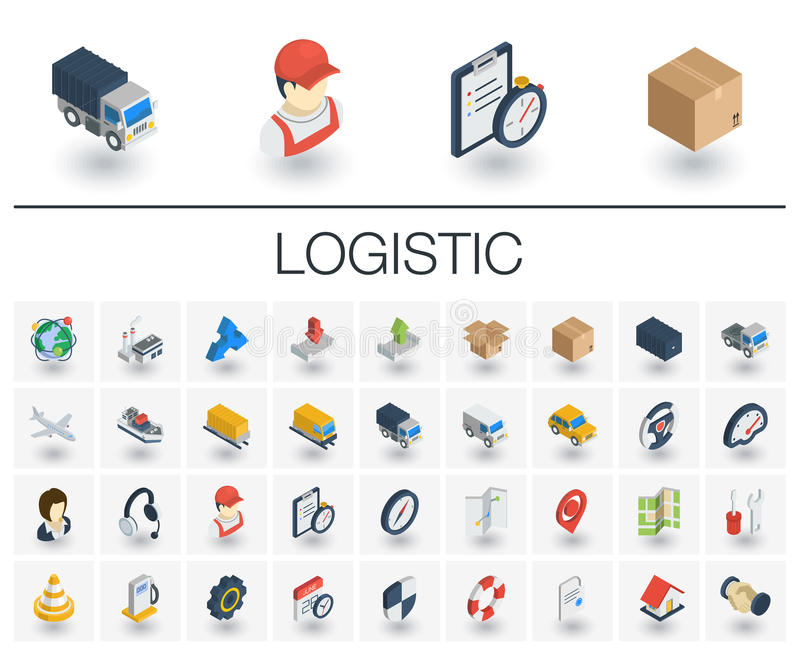 Logistische en distributie isometrische pictogrammen 3d vector stock illustratie