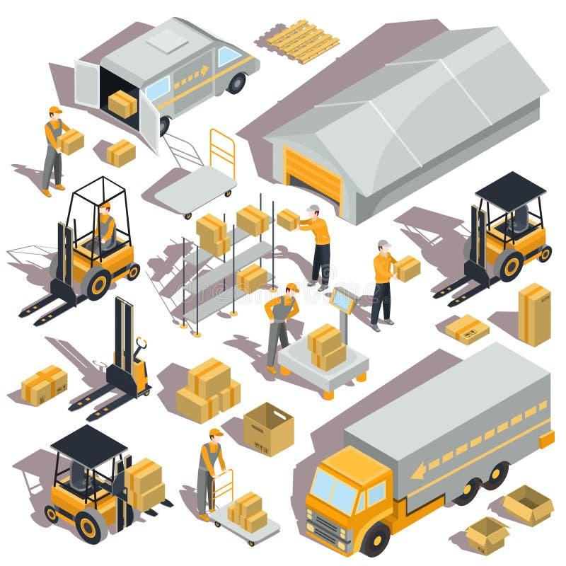 logistische en leverings isometrische pictogrammen stock illustratie