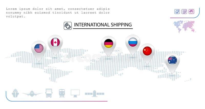 Logistische Firmazeichen Stifte mit Flaggen von verschiedenen Ländern transport lizenzfreie abbildung