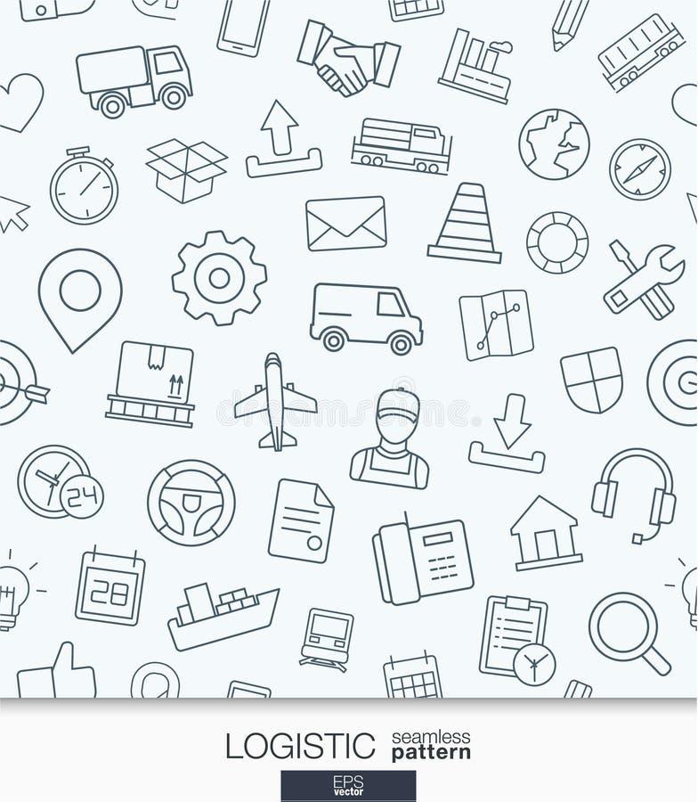 Logistische Geschäftstapete Nahtloses Muster der Lieferung und der Verteilung lizenzfreie abbildung