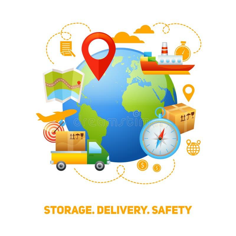 Logistische globale Konzeptdesignillustration lizenzfreie abbildung