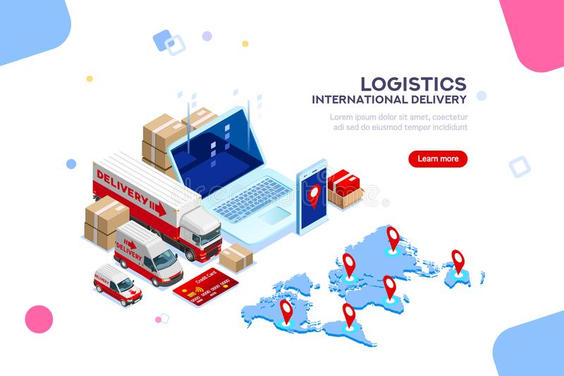 Logistische internationale Lieferungs-Verteilungs-Fabrik Infographic lizenzfreie abbildung