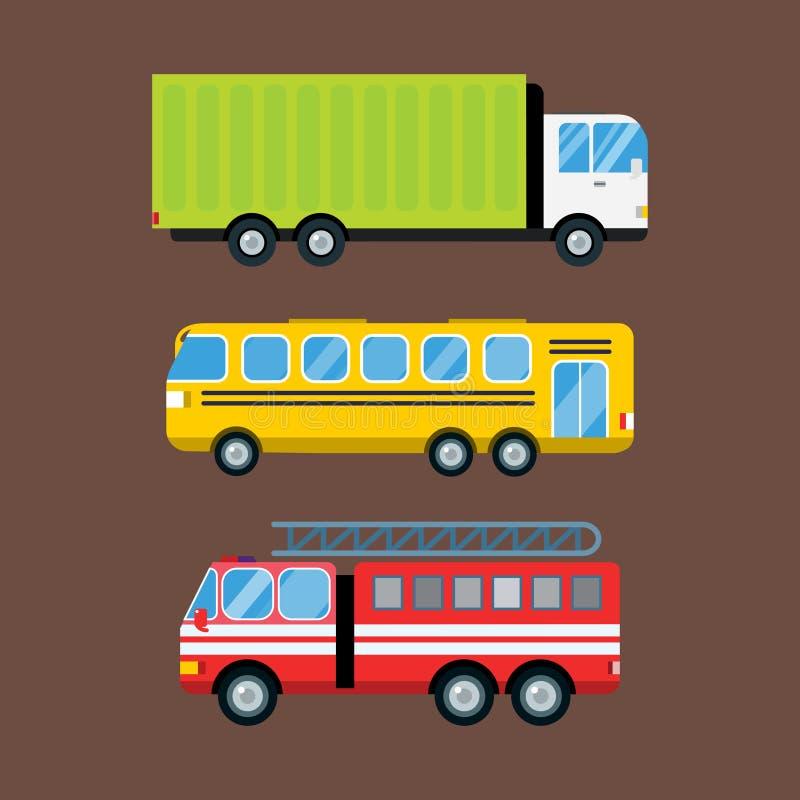 Logistische lokalisierte Vektorillustration des Löschfahrzeugautokarikaturlieferungstransportfrachtbusses stock abbildung
