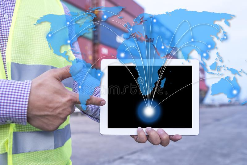 Logistische producten verschepen het wereldwijd stock afbeeldingen