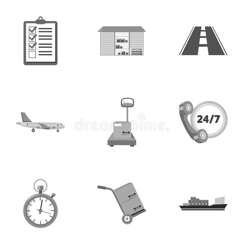 Logistische Satzikonen in der einfarbigen Art Große Sammlung der logistischen Vektorsymbol-Vorratillustration stock abbildung
