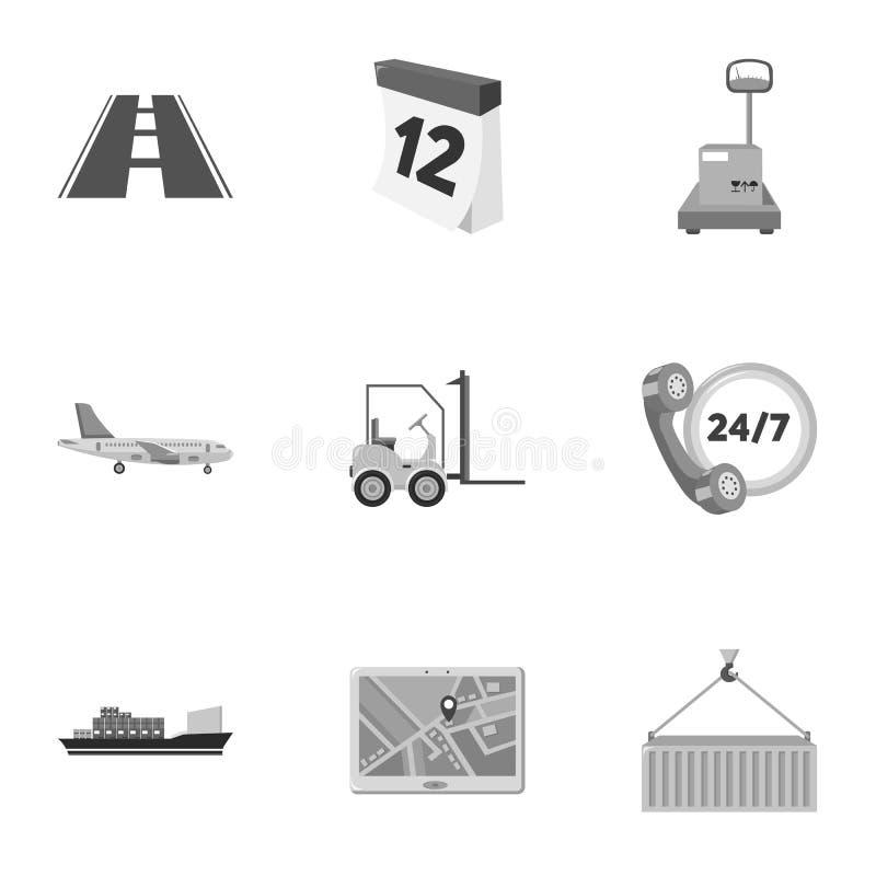 Logistische Satzikonen in der einfarbigen Art Große Sammlung des logistischen Vektorsymbols vektor abbildung