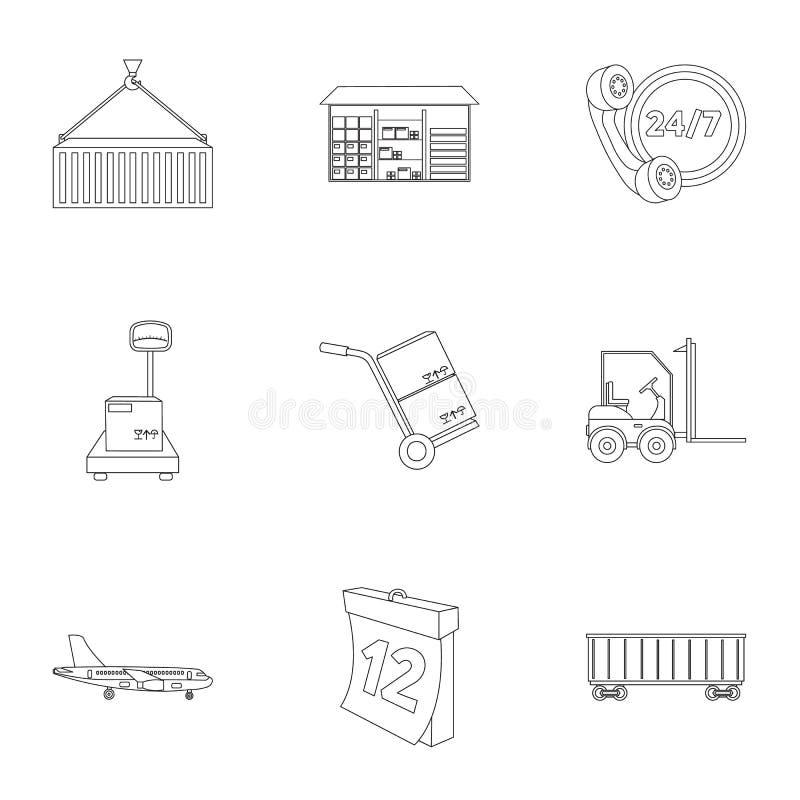 Logistische Satzikonen in der Entwurfsart Große Sammlung der logistischen Illustration vektor abbildung