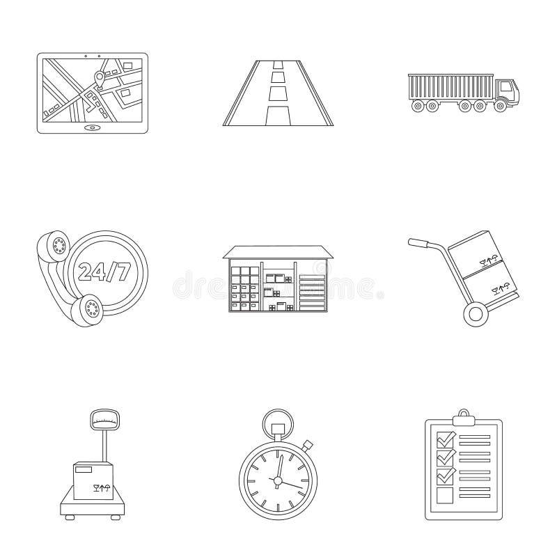 Logistische Satzikonen in der Entwurfsart Große Sammlung der logistischen Vektorsymbol-Vorratillustration stock abbildung