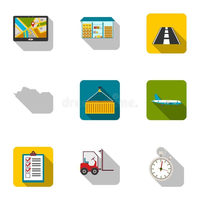 Logistische Satzikonen in der flachen Art Große Sammlung des logistischen Symbols lizenzfreie abbildung