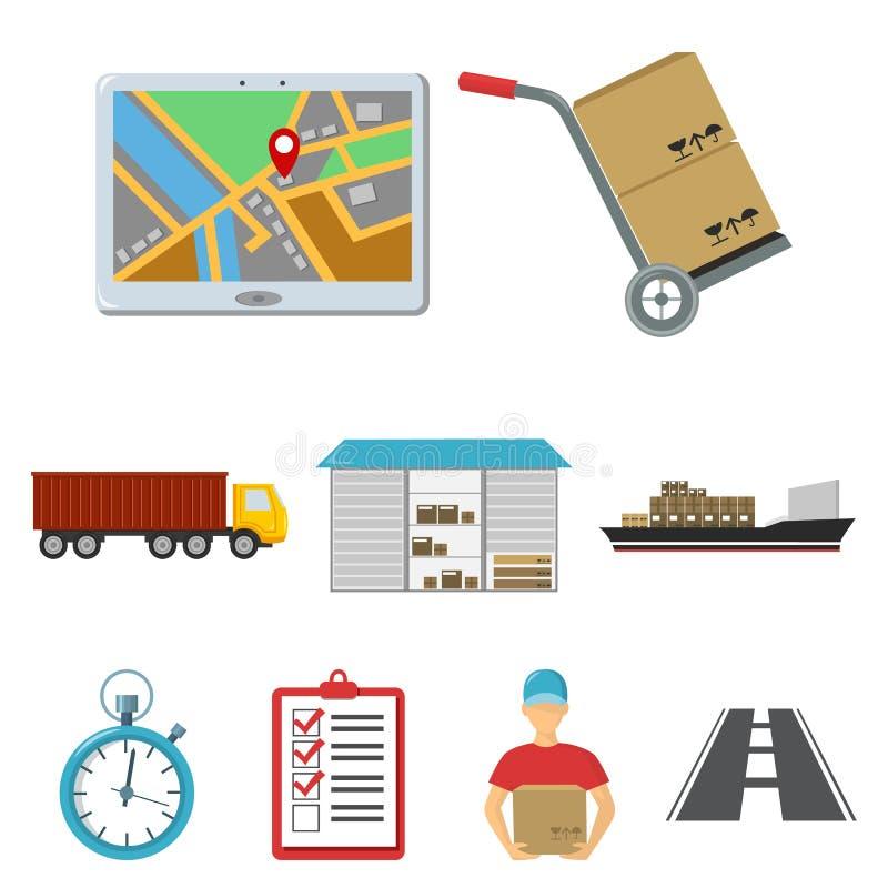Logistische Satzikonen in der Karikaturart Große Sammlung der logistischen Vektorsymbol-Vorratillustration lizenzfreie abbildung