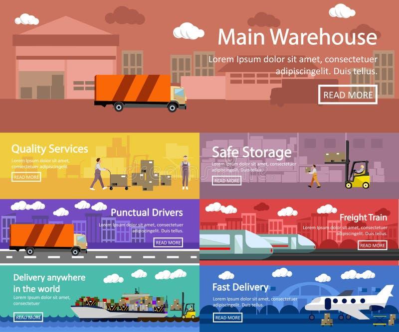 Logistische und des Transportkonzeptes flache Fahnen Vektorsatz von LKW, Schiff, Zug, Lufttransportlieferung, versendend lizenzfreie abbildung