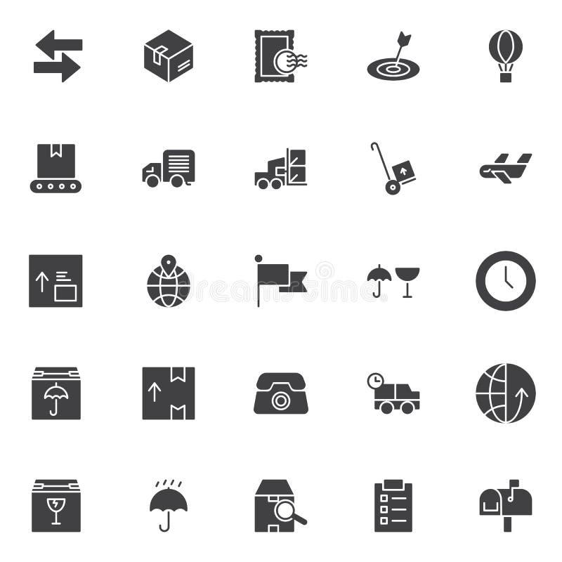 Logistische vector geplaatste pictogrammen stock illustratie