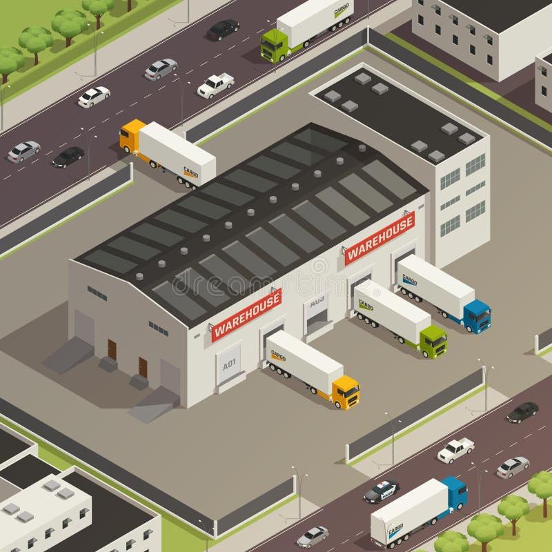 Logistische Vrachtvervoer Isometrische Illustratie stock illustratie