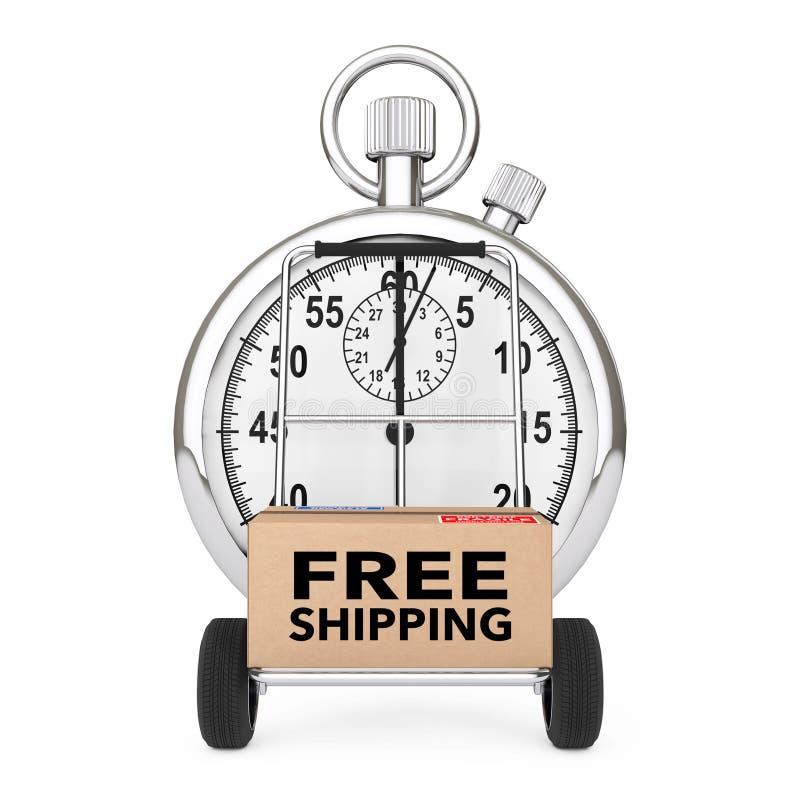 Logistisches Konzept Stoppuhr nahe Kasten mit ove Zeichen des kostenlosen Versands lizenzfreie abbildung
