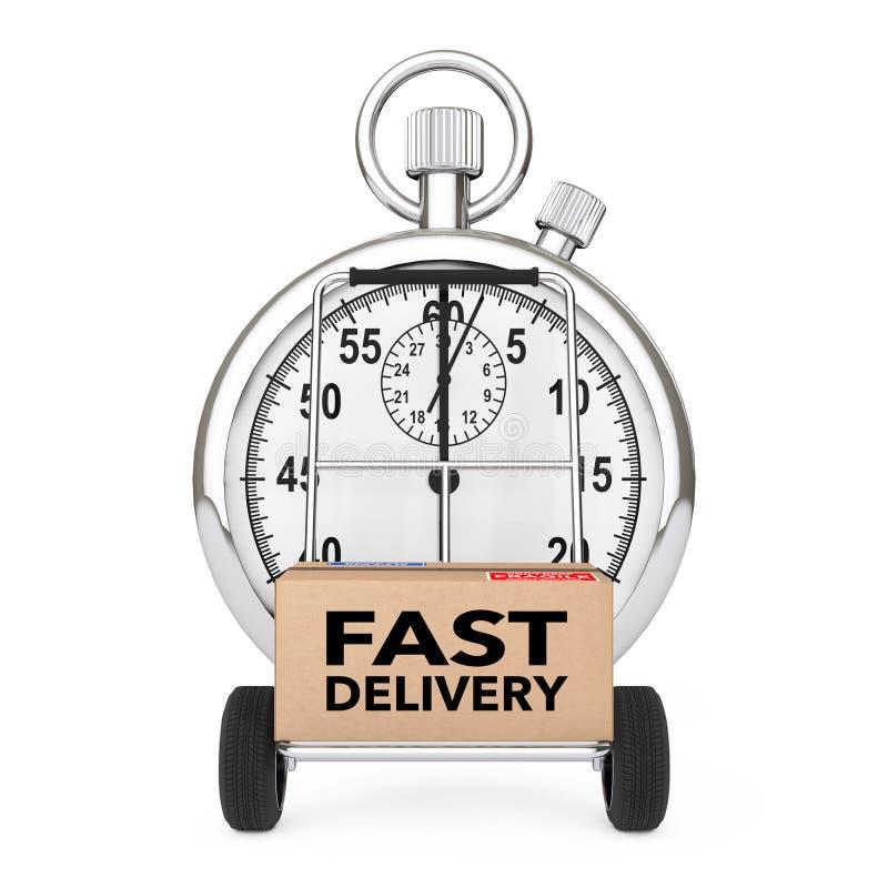 Logistisches Konzept Stoppuhr nahe Kasten mit schnellem Lieferungs-Zeichen ove stock abbildung