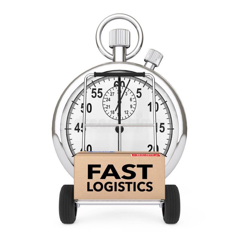 Logistisches Konzept Stoppuhr nahe Kasten mit schneller Logistik unterzeichnen ov stock abbildung