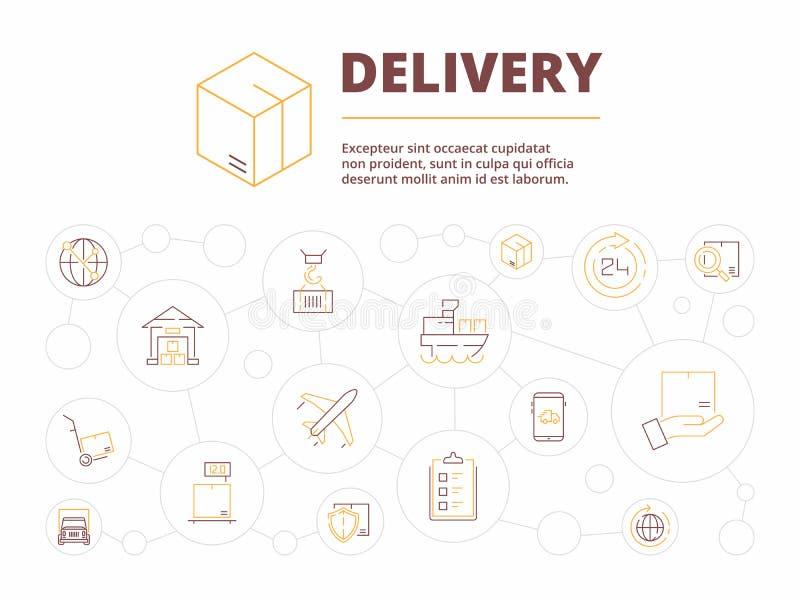 Logistisk bakgrund Illustration för affärsidé för vektor för lager för transport för hemsändningobjektpacke stock illustrationer