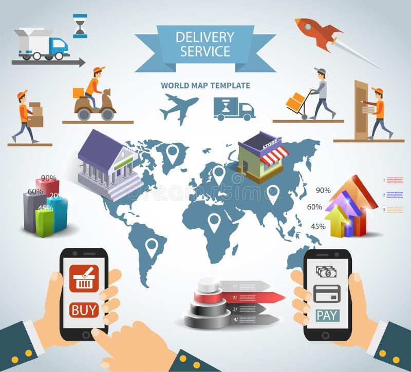 Logistisk chain uppsättning för infographics för leverans för tillförsel för sändningsfraktservice med diagram och världskartan vektor illustrationer