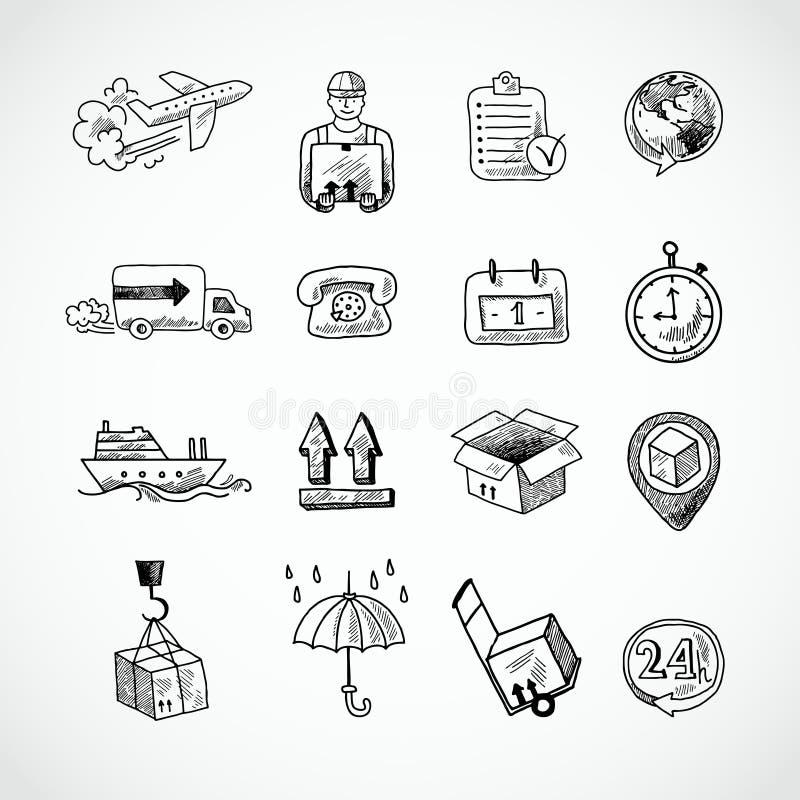 Logistisk hand dragen symbolsuppsättning stock illustrationer