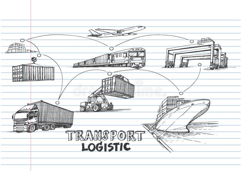 Logistisk handattraktion på fodrat anteckningsbokpapper royaltyfri illustrationer