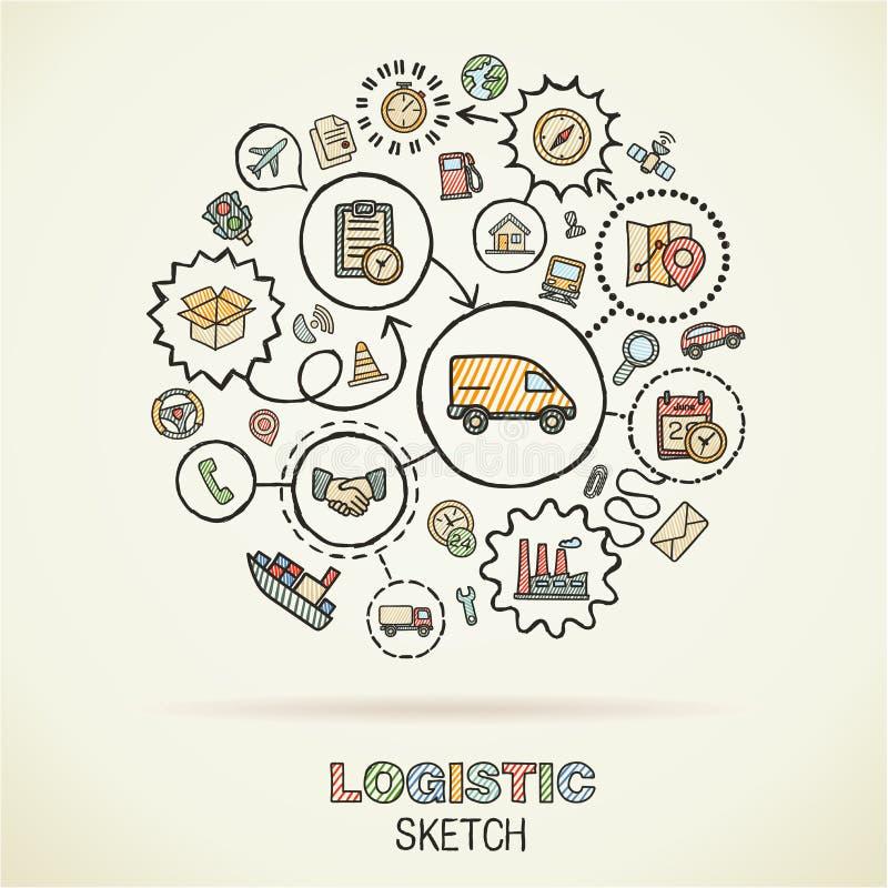 Logistisk handattraktion skissar symboler stock illustrationer