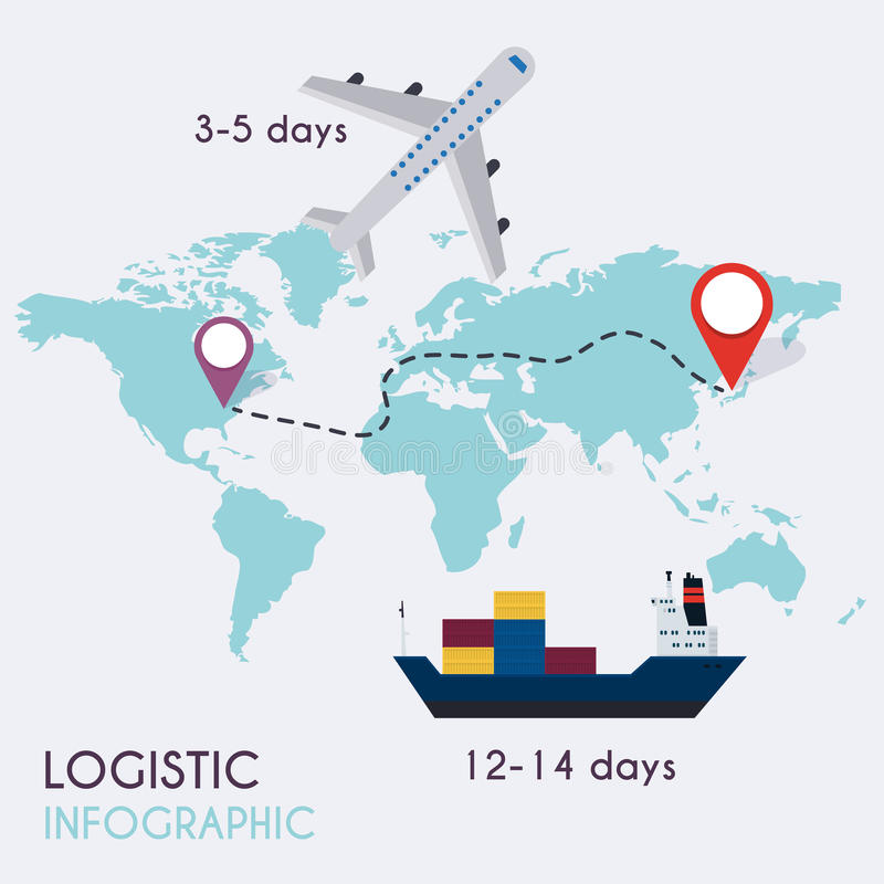 Logistisk infographics Uppsättning av mellanrum och trans. för plana lagersymboler logistiskt stock illustrationer