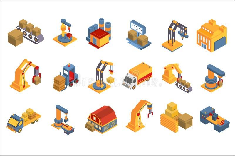 Logistisk, lageruppsättning, sändningsservice, leverans och lasttrans., illustrationer för branschfraktvektor på a stock illustrationer