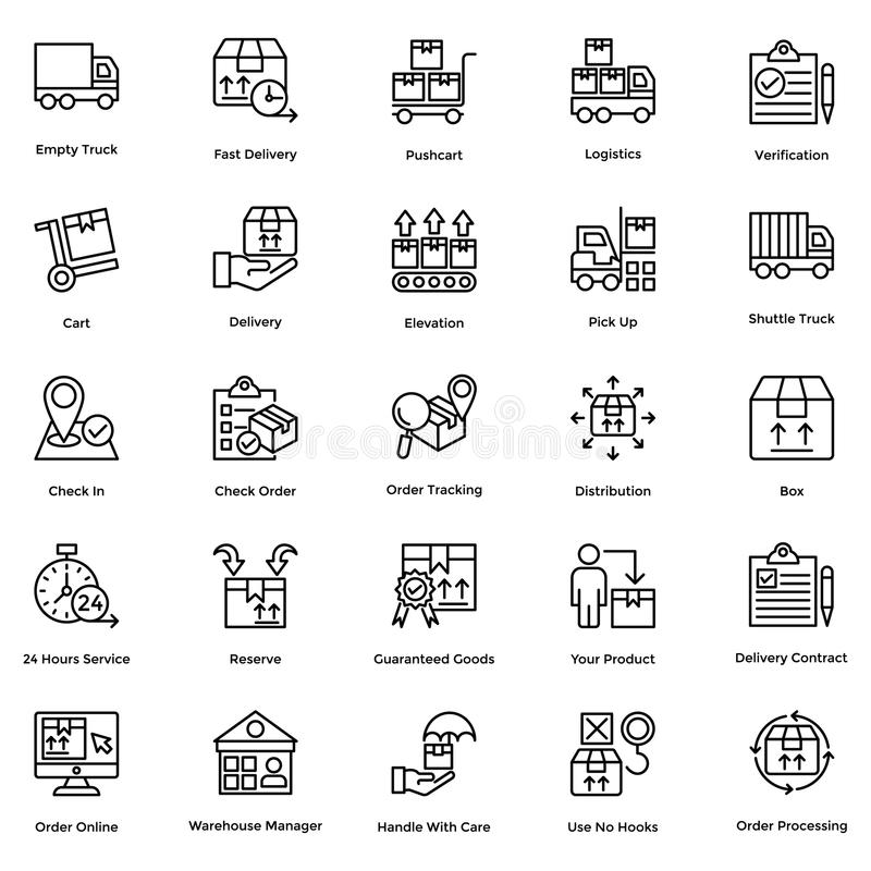 Logistisk leveranslinje vektorsymbolsuppsättning 7 stock illustrationer