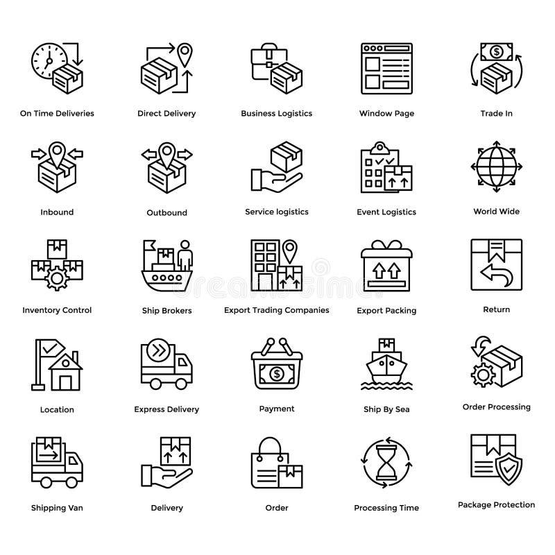 Logistisk leveranslinje vektorsymbolsuppsättning 1 vektor illustrationer