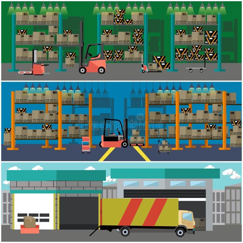 Logistisk och hemsändningbegreppsbaner inre lager Vektorillustration i plan stildesign stock illustrationer
