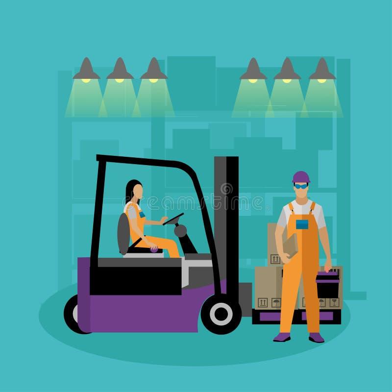 Logistisk och hemsändningbegreppsbaner Lagerarbetare stock illustrationer