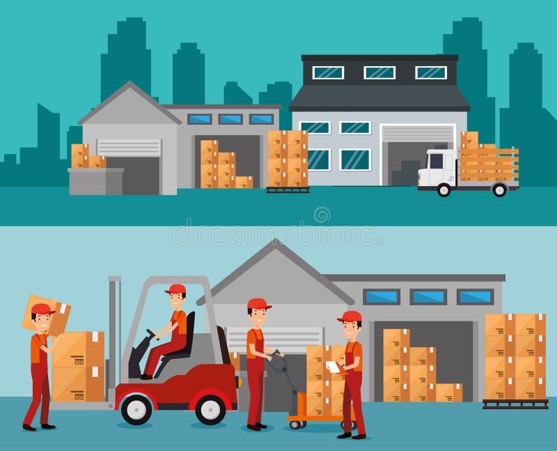 Logistisk service med lagerbyggnad royaltyfri illustrationer
