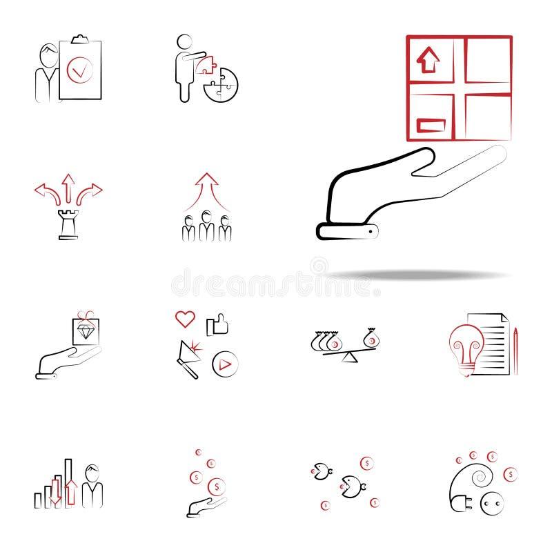 Logistisk symbol för service Universell uppsättning för affärs- och ledningsymboler för rengöringsduk och mobil stock illustrationer
