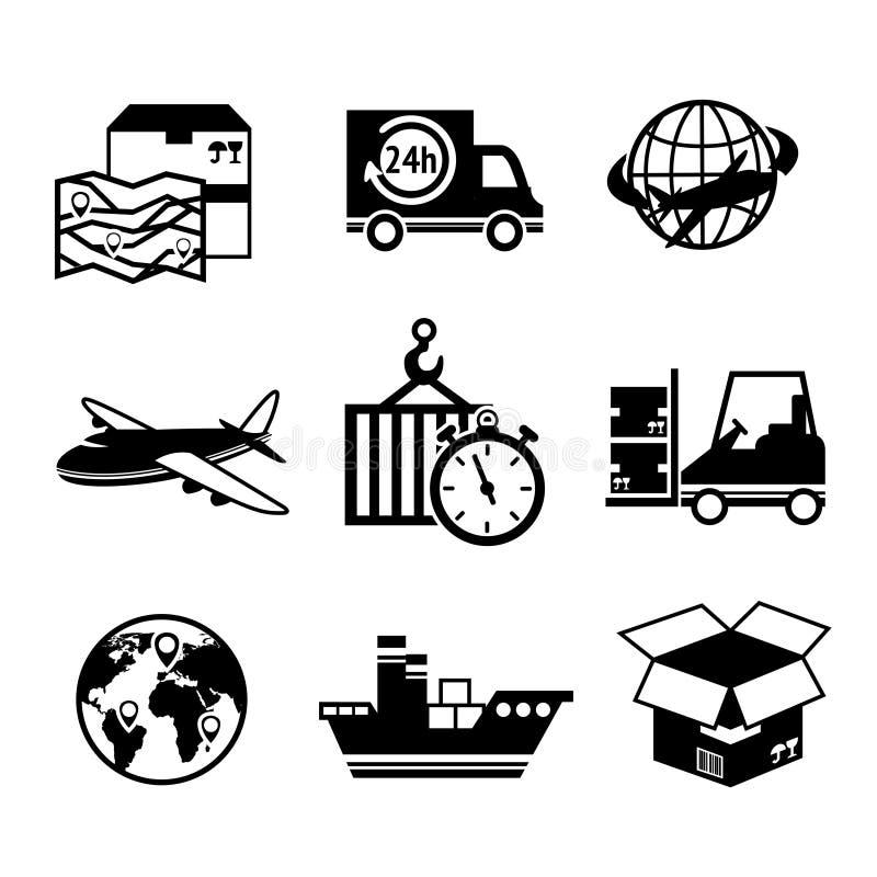 Logistisk symbolsuppsättning stock illustrationer