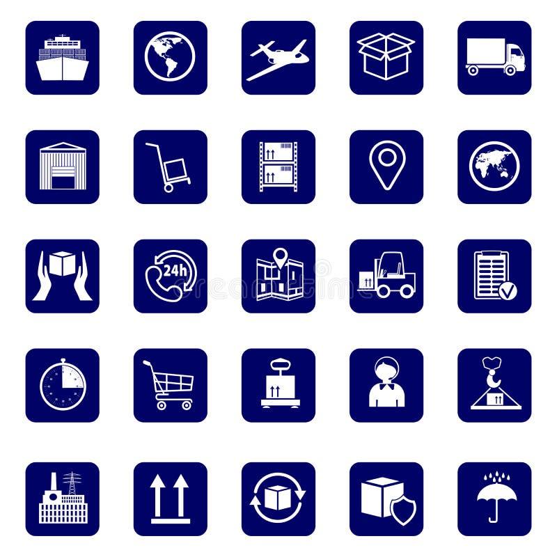 Logistiska företagstecken Ställ in den symbolstransport och logistiken Lager och sändningsutrustning royaltyfri illustrationer