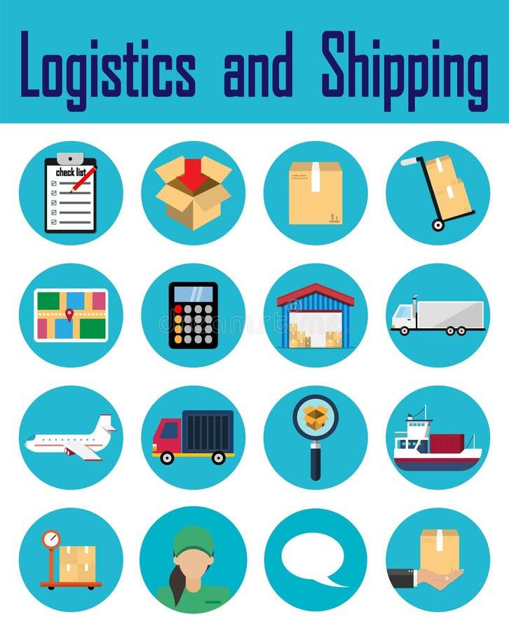 Logistiska företagstecken Uppsättning av den leverans släkta vektorlinjen symboler bakgrunds- och färgbroschyr royaltyfri illustrationer