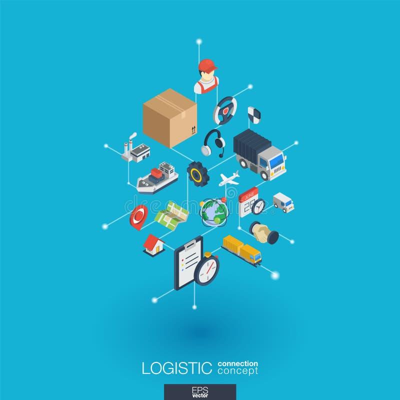 Logistiska inbyggda symboler för rengöringsduk 3d Isometriskt begrepp för Digitalt nätverk stock illustrationer
