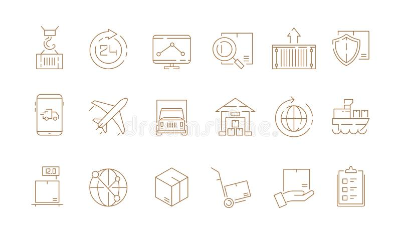 Logistiska tunna symboler Leverera askar och samlingen för symboler för översikt för vektor för frakter för hav för sändning för  royaltyfri illustrationer