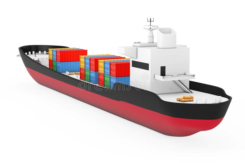 Logistiskt begrepp för affär Tankfartyg- eller behållarelastfartyg beträffande 3d vektor illustrationer