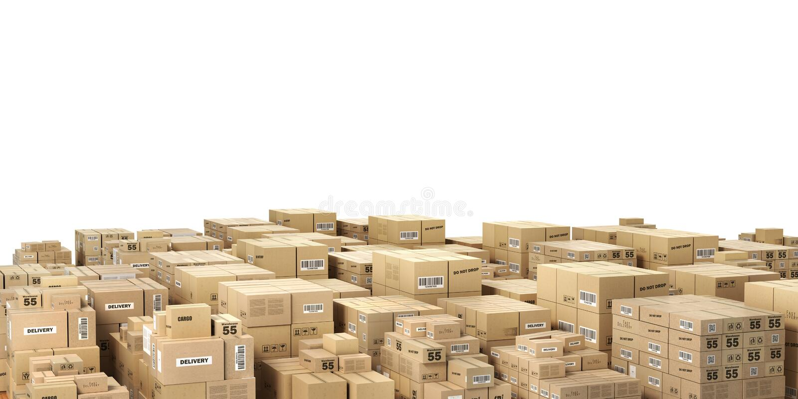 Logistiskt begrepp Stora buntar av kartonger illustration 3d stock illustrationer