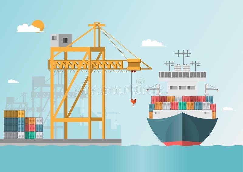 Logistiskt havstrans. Havsfrakter Lastfartyg behållare stock illustrationer