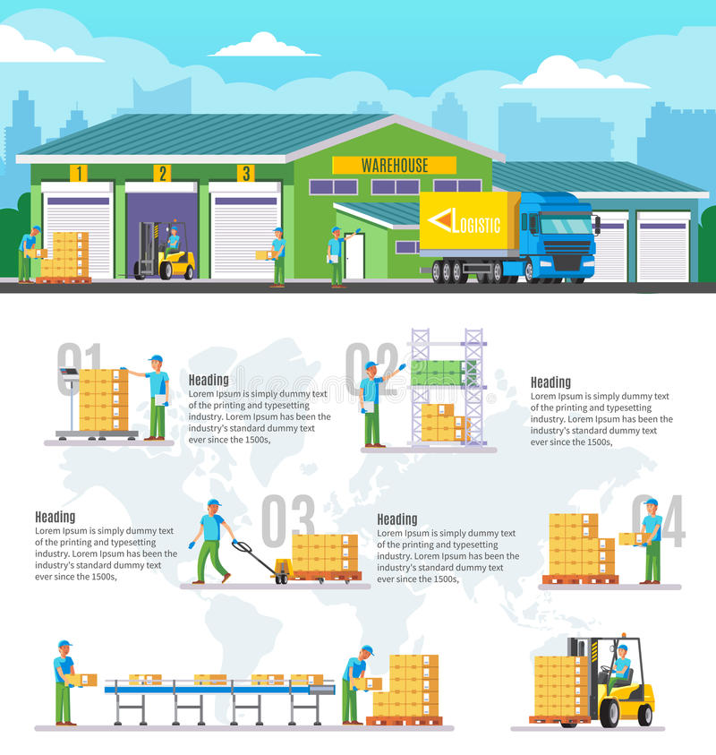 Logistiskt lager Infographic vektor illustrationer