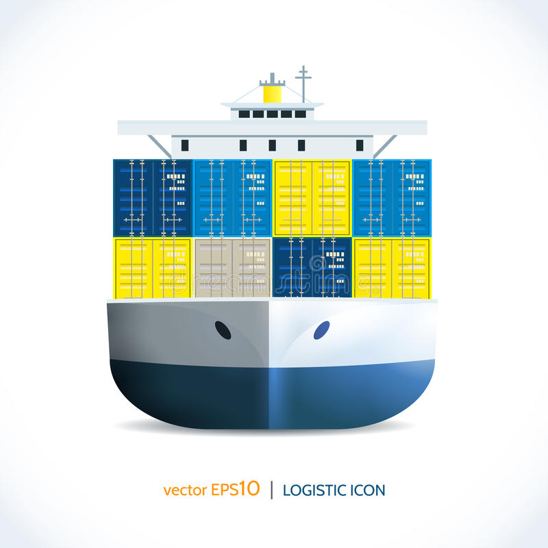 Logistiskt symbolsbehållareskepp vektor illustrationer