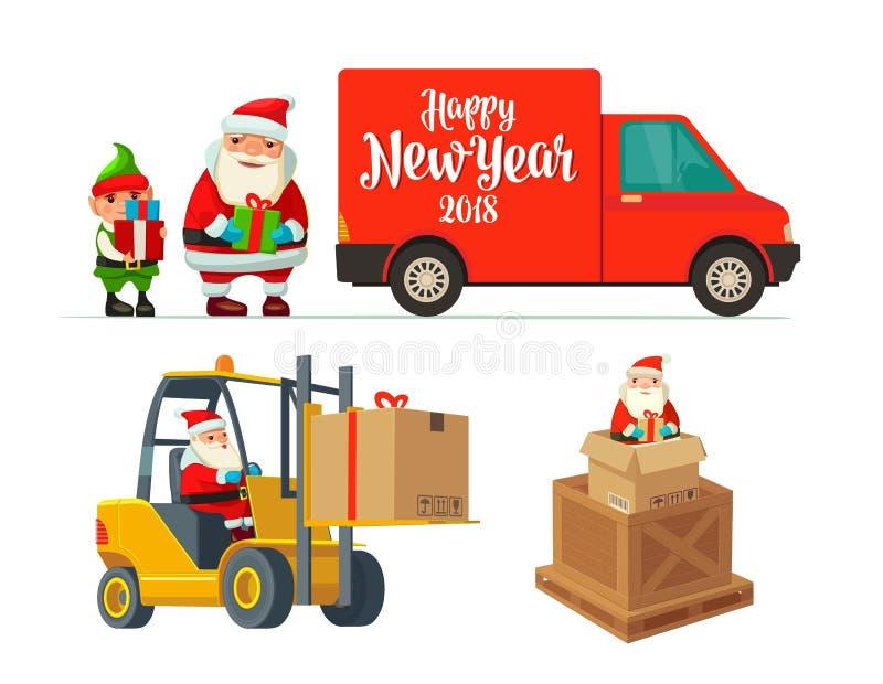 Logistycznie elf z prezentem i Święty Mikołaj Forklift niesie ilustracja wektor